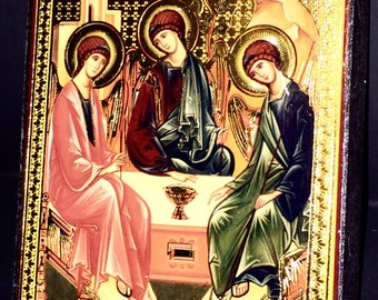 Antique Golden Florenza Block Wall Art of Saints Spiritual Religious Foil Gilded Art