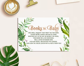Bring a book Baby Shower Card, Boho Books for Baby Insert Card, Books for Baby, Baby Shower Book Request, Books for Baby