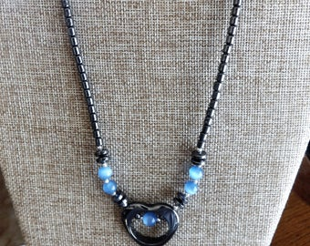 Blue Cat's Eye Heart Hematite beaded necklace