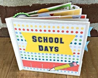 Premade School Scrapbook -  School Photo Album - Paperbag Scrapbook - Teacher Gift - School Memory Album - Premade Scrapbook - Gift Under 20