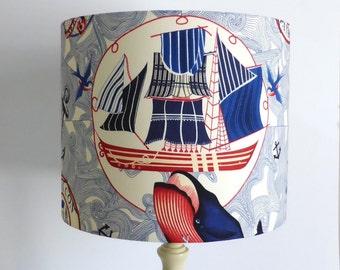 Nautical Lampshade | Ship | Mermaid | Blue |  Captain | Handmade in Australia
