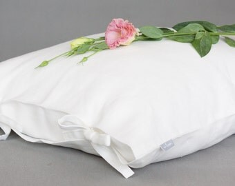 Pure white linen pillow case tied with a bow, linen pillow cover