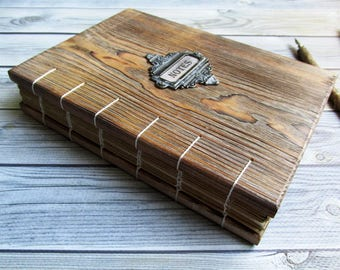 Wooden handmade notebook, wooden book, Notebook in wooden cover, Wedding accessory for recording, wedding decorations