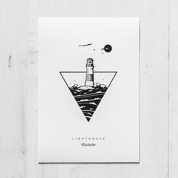 Poster Art Print - Lighthouse Blackwork Series A5 Size - Lighthouse Mo...