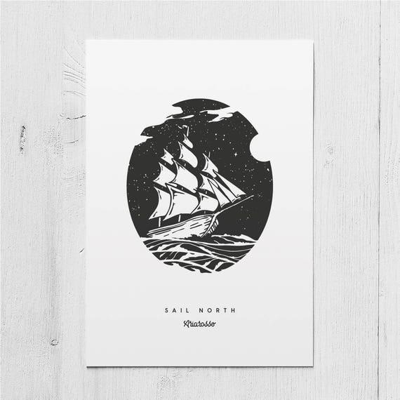 Poster Art Print - Sail North Blackwork Series A5 Size - Sails Ocean N...