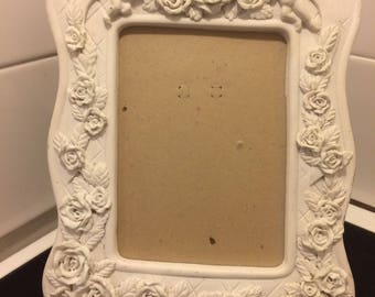 Vintage Shabby chic style wedding picture photo frame with flowers and cherubs