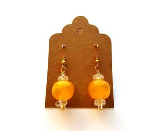 Gold Wires with Frosted Acrylic Yellow and Crystal Bead Earrings Handmade by Cialeigh