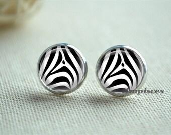 Zebra Stripe Earrings, Zebra Stripes Ear Stud Earrings, Black and white Stripes Post Earrings, Handmade Glass Dome Ear Jewelry (EH289)