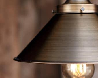 The Logger Pendant Light - Industrial Rope Lighting - Steel Swag Ceiling Lamp - Rustic Metal Shade Hanging Lights Fixture -Edison bulb
