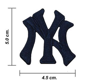 New York Yankees Black Logo Embroidered Iron On Patch.