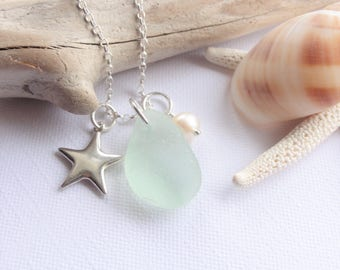 Sea Glass from Scotland - Scottish Sea Glass and Sterling Star Necklace