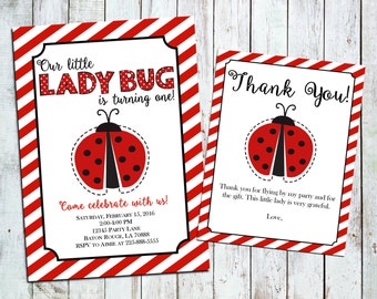 Ladybug Invitation and Thank You Card