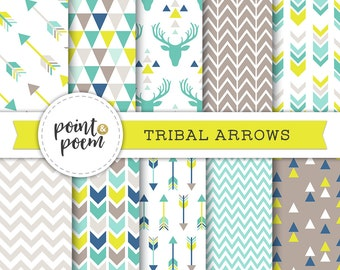 Tribal Digital Papers, Green Mint Blue Taupe Printable Papers Triangles Chevron Antlers Deer Hipster - Commercial Use