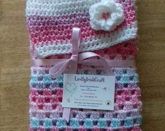 Crochet Baby Blanket, Baby Girl, Crochet Blanket & Hat.From Newborn, handcrafted in Ireland.Made to Order