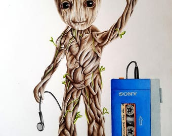 Baby Groot Pencil Portrait Drawing Print