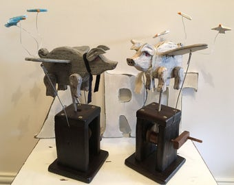 Automaton Pigs Might Fly Unique Gift Moving Sculpture Kinetic Art Automata Automaton Hand Made Gift Gift for Dad Gift for Her Gift For Him