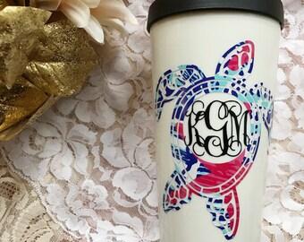 Lily Pulitzer Monogram Turtle Mug • Lily Print Monogram • Turtle Monogram • Lily Pulitzer Inspired Monogram Decal • Summer Turtle Coffee Mug