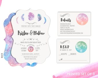 Watercolor Moon Wedding Invitations Set Package minimalist painted galaxy water color Urban minimalistic Wedding Invitations Set
