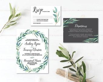 Printable Wedding Invitation Set | Wedding Invite + RSVP + Insert card |  Watercolor, modern, botanical, bohemian, eucalyptus | Greenery
