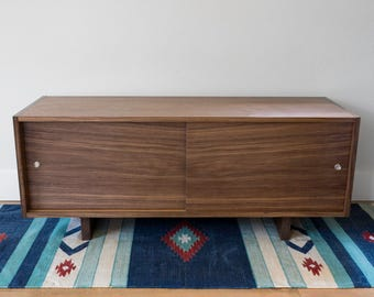 walnut record player stand and media console clear lacquer with sliding doors and wood feet