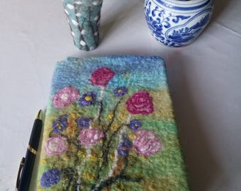 Felted Notebook Cover ~ Pink Purple Flower Floral Front and Back Handmade OOAK