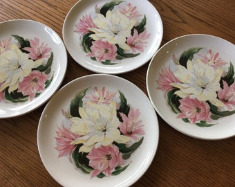 "Bauer Pottery Dishes Unusual Vintage 1950s 10 1/2"" Dinner Plates (4) Hand Painted Pink and White Lilies, Great Condition, Make Offer"