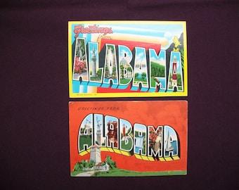 Alabama Postcards Large Letter Big Letter Vintage Souvenir Postcard