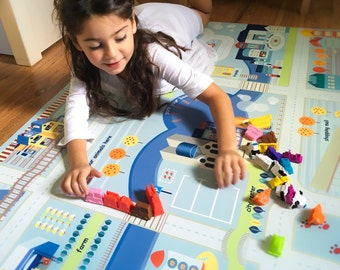 Car Playmat , City and Roads Play, Practical Rug for kids, Light Blue Carpet for Boys