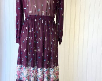 Purple Floral Sheer Mid Length Dress