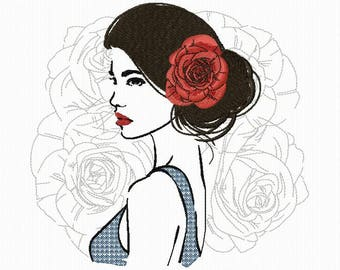 Embroidery of a woman with roses for machine embroidery in 3 sizes