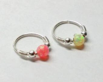 Extra thin hoop with a Tiny bright opal bead with small sterling silver beads your choice in color and size, Nose rings/lip/cartilage/helix