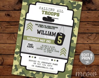 Army Invitations Party Troops Invite Birthday INSTANT DOWNLOAD Sergeant Boy's Camouflage Paintball SOLDIER Personalize Editable Printable