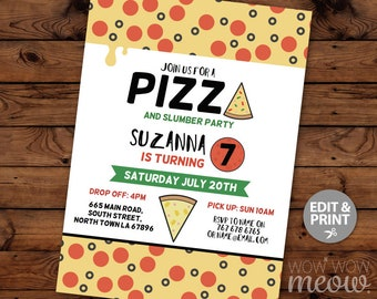 PIZZA Party Invitation Birthday Party Slumber Sleep Over Invite INSTANT DOWNLOAD Digital Disco Movie Film Personalize Editable Printable