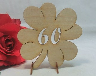 Standing shamrock with 60 made from wood, with feet, 20 cm high