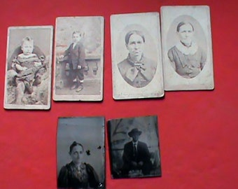 Antique 1800s neat lot of old photographs Tin Type and CDV original photos old west