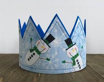 Snowman Birthday Crown, Boys Birthday Crown, Photo prop, Party Hats, Snowflake crown, Blue Snowman Crown, Winter birthday crown, Girls Crown