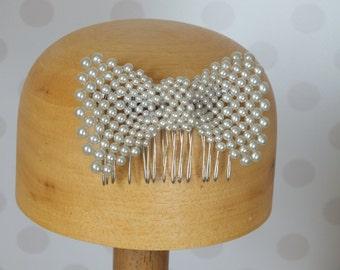Pearl Bow Hair Comb, vintage brooch, bridal wedding hair jewellery tiara, ivory, bridesmaid, guest, races crystal