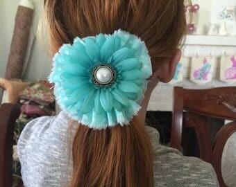 Shabby Chic Flower ponytail holder Aqua