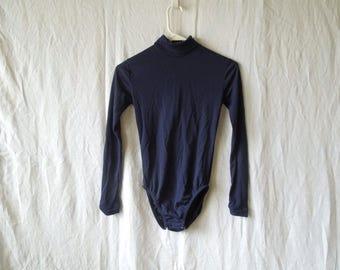 SALE 70s Blue Mock Neck Long Sleeve Leotard