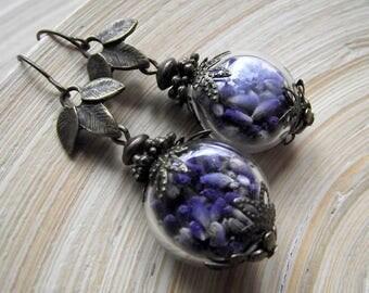 Lavender earrings Lampwork Glass hollow beads vintage look