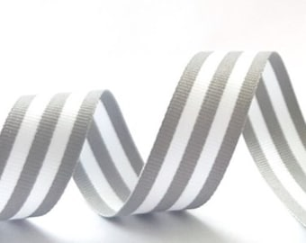 Grey & White Stripe Grosgrain Ribbon 22mm Wide *Sold Per Metre*