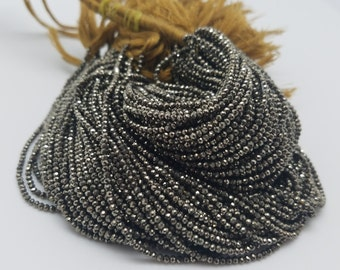 2mm Natural Pyrite Micro Faceted, 13 Inch