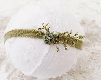 Newborn Photography Prop Headband {Olive}