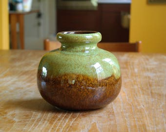 Vintage West German Pottery Vase  284-15 Brown Green Glaze MCM