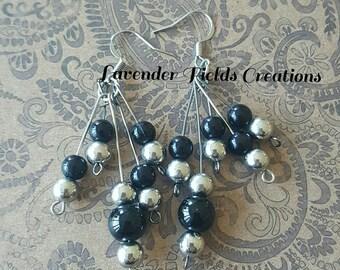 Black and Silver Chandelier Earrings  (201728E)