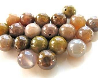 Agate beads, Wooden Agate, 20 beads, 8mm, round beads, shades of brown, Jewelry supply B-906