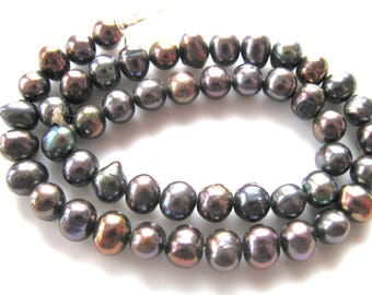 Fresh Water Pearls, 13 inch strand, 50 beads 6x7mm, gold, brown, Jewelry supply, B-1486