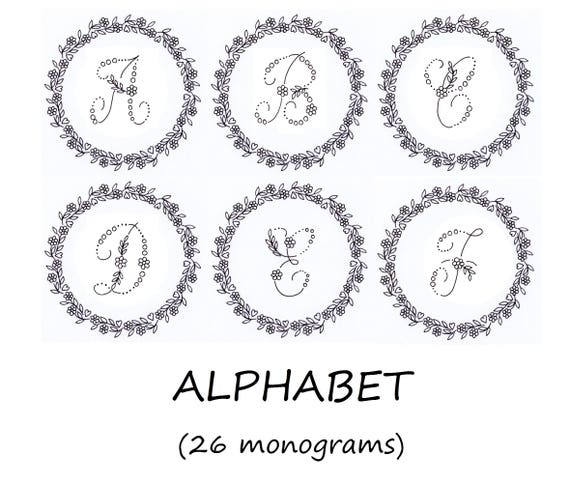Hand embroidery pdf monograms alphabet with floral