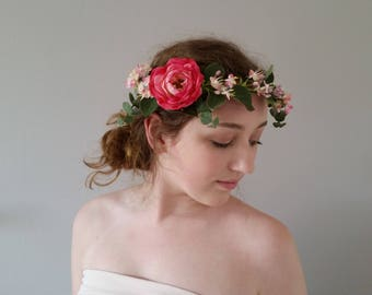 Pink silk flower crown Floral crowns Bridal headband hairpiece Wedding hair accessories Flower girl hair garland Bridesmaids hair wreath