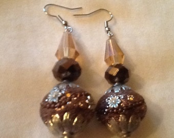 Elegant Shades of Brown Glass Bead Earrings